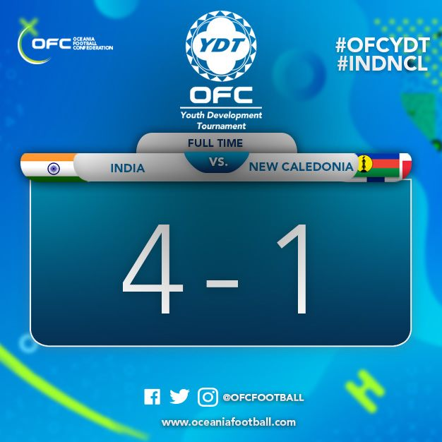 INDE - NOUVELLE CALEDONIE : 4 - 1 / Tournoi international OFC U18 - VIDEO