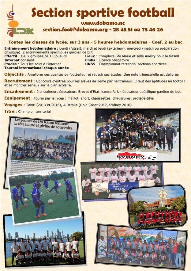 Sections Sportives et Scolaires Football - Rentrée 2020