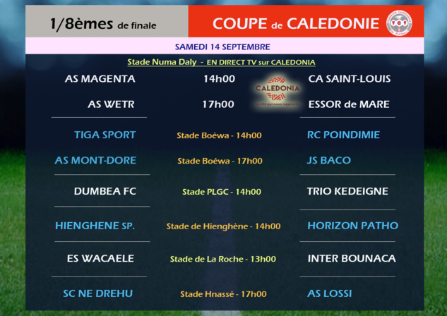 1/8èmes de finale COUPE de CALEDONIE / Programme