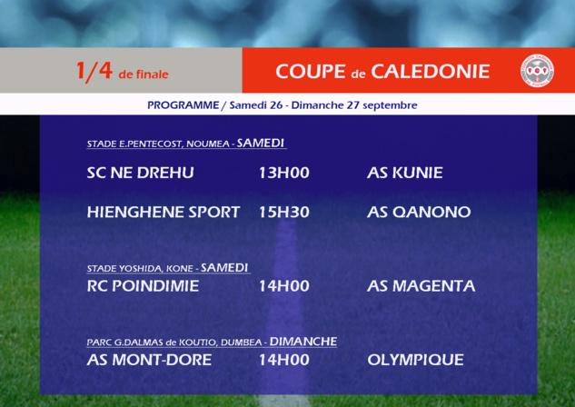 Les quarts de finale s'annoncent passionnants / Coupe de Calédonie - PROGRAMME