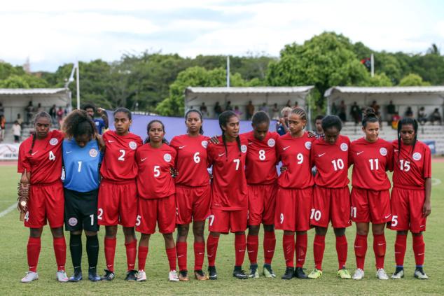Jackie PAHOA, ici à Koné avec la Sélection A de Calédonie, lors de la Coupe des Nations océanienne 2018.