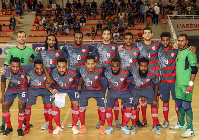 La Sélection A Futsal de Nouvelle-Calédonie, lors de la Nation's Cup OFC 2019.