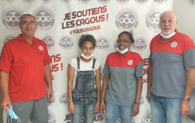 En photo de gauche à droite : Kamaliele Fitialeata, Marielle Haocas, Glenda Wahnapo, Gilles Tavergeux. (Photo FCF)