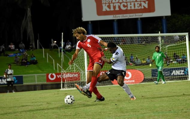 En photo : Cédrick SANSOT, ici en mars 2019 en amical face aux Fidji, l'une des dernières rencontres officielles de la Sélections A, avant les derniers Jeux du Pacifique en juillet. Depuis les cagous n'ont plus eu l'occasion de jouer.
