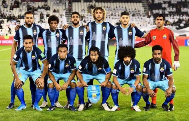 Le onze de départ de Hienghène lors de la Coupe du Monde des Clubs au Qatar en 2019, face à Al-Sadd. Crédit Photo : getty images.
