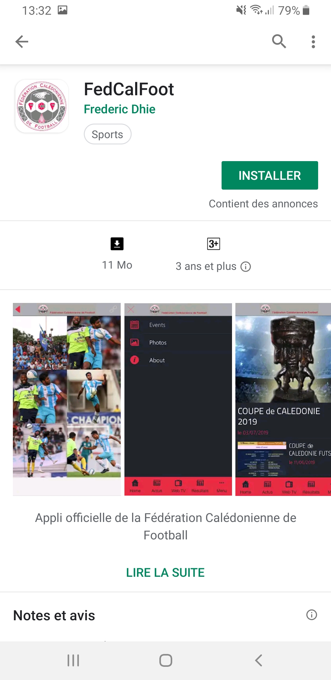 L'Appli FEDCALFOOT sur PLAYSTORE