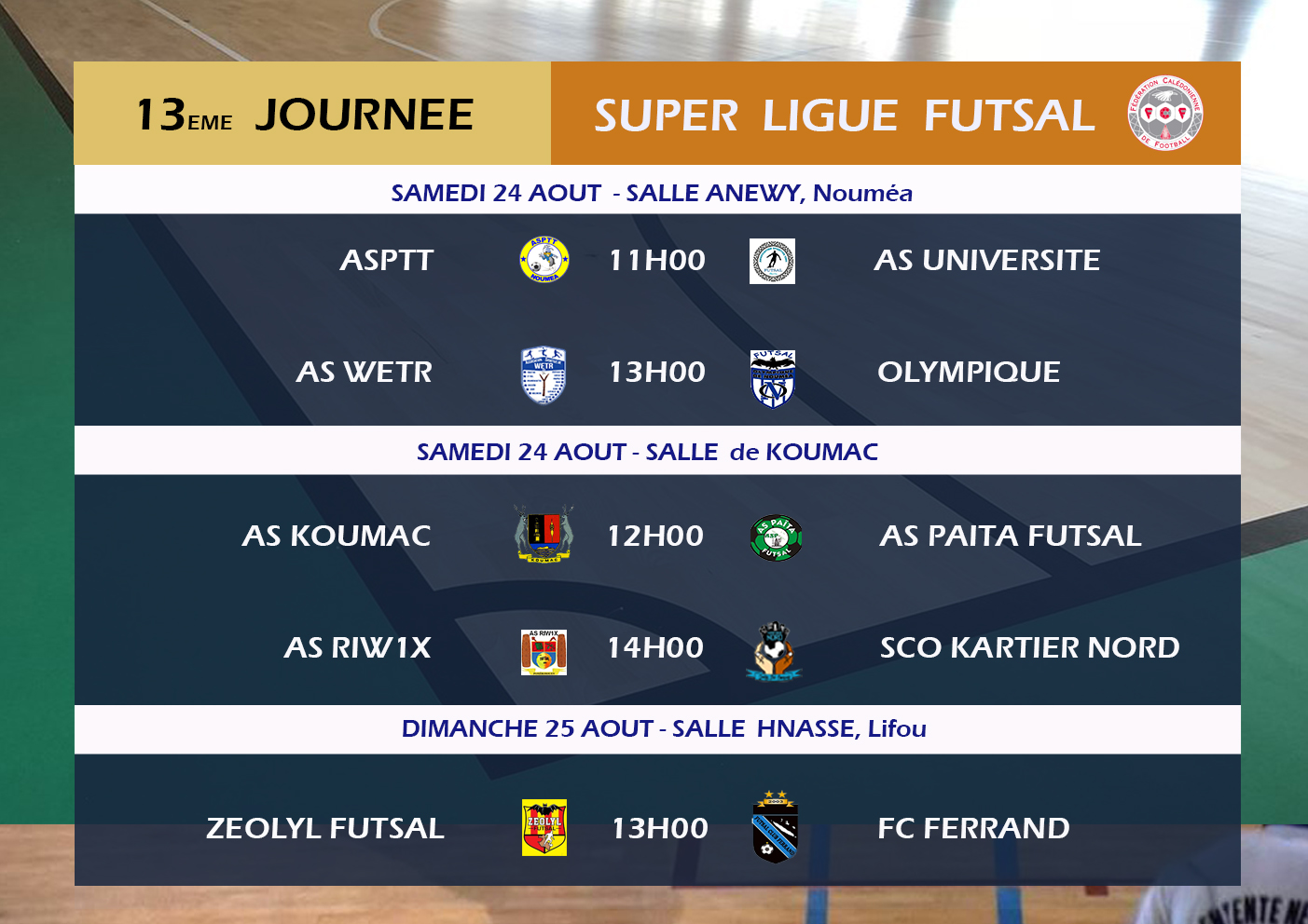 Programme du week-end : Mobil Super Ligue (J12) - Super Ligue Futsal (J13) - Estonie vs NC (U18)