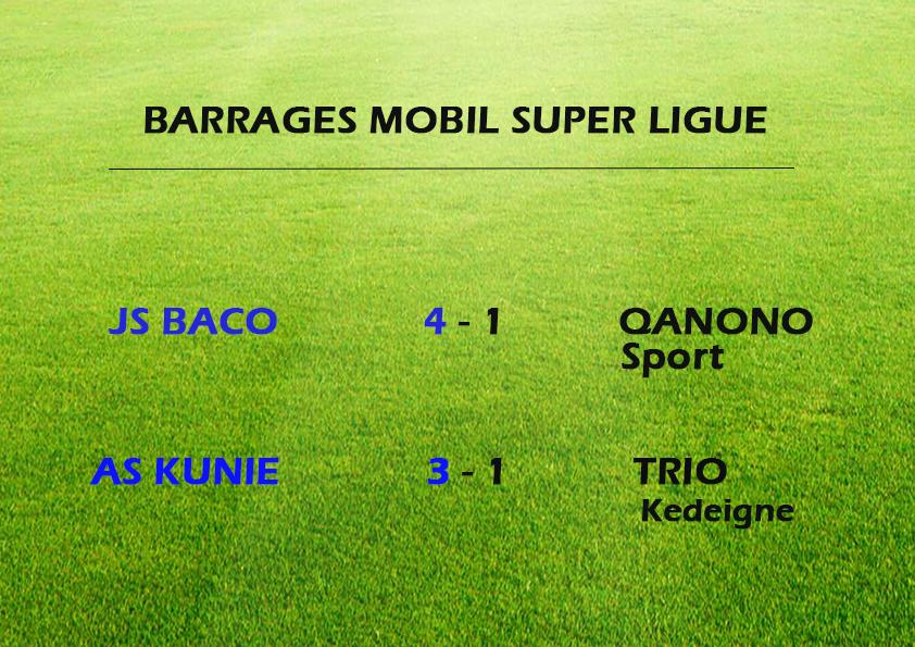 BACO et KUNIE montent en MOBIL SUPER LIGUE / Barrages