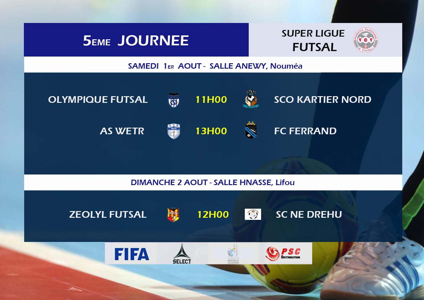 Au programme du week-end : la Super Ligue Futsal (J5), les U18 (J8), et les Féminines au Sud (Foot à 8)