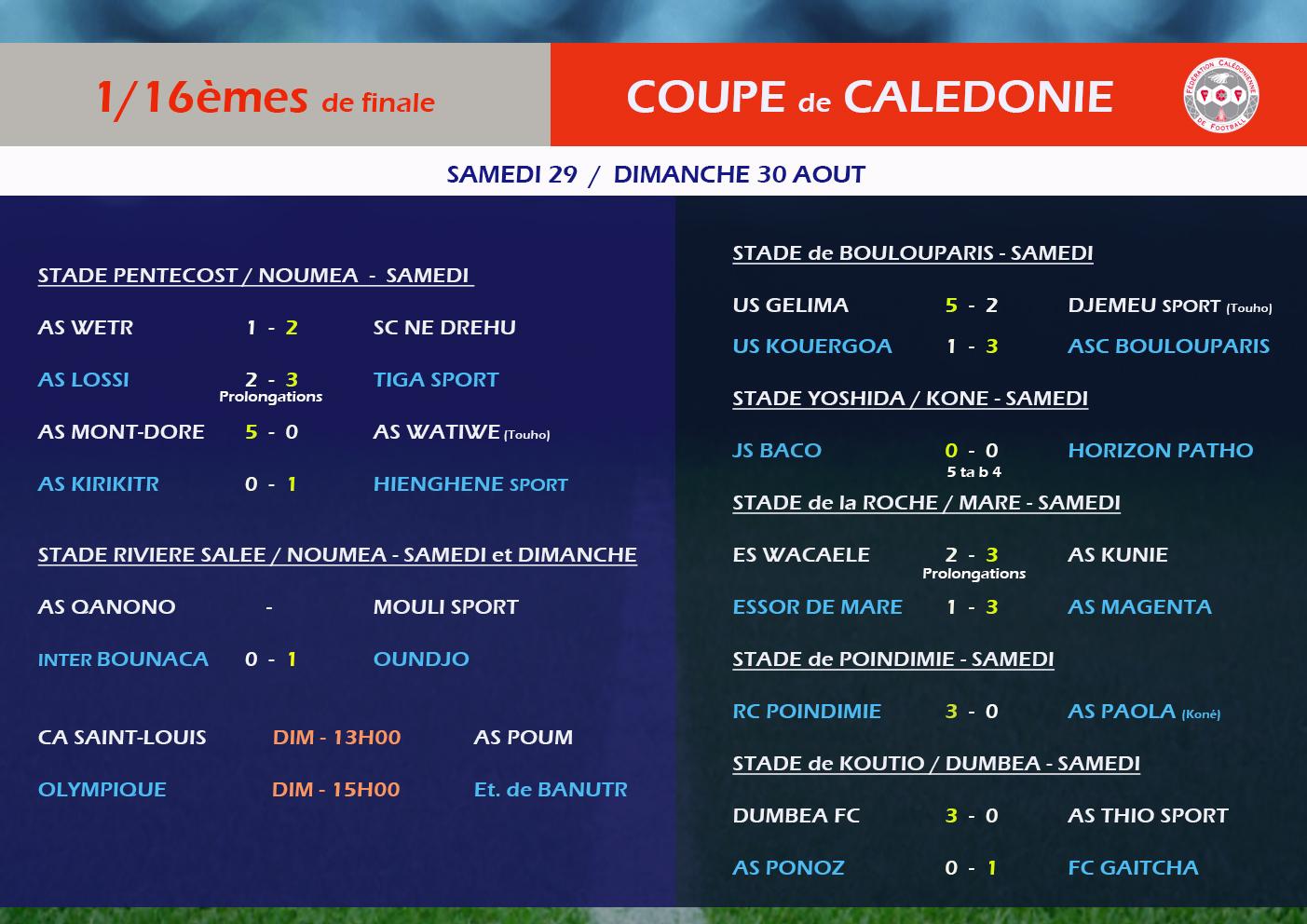 RESULTATS complets des 1/16èmes de finale de la COUPE / FCF