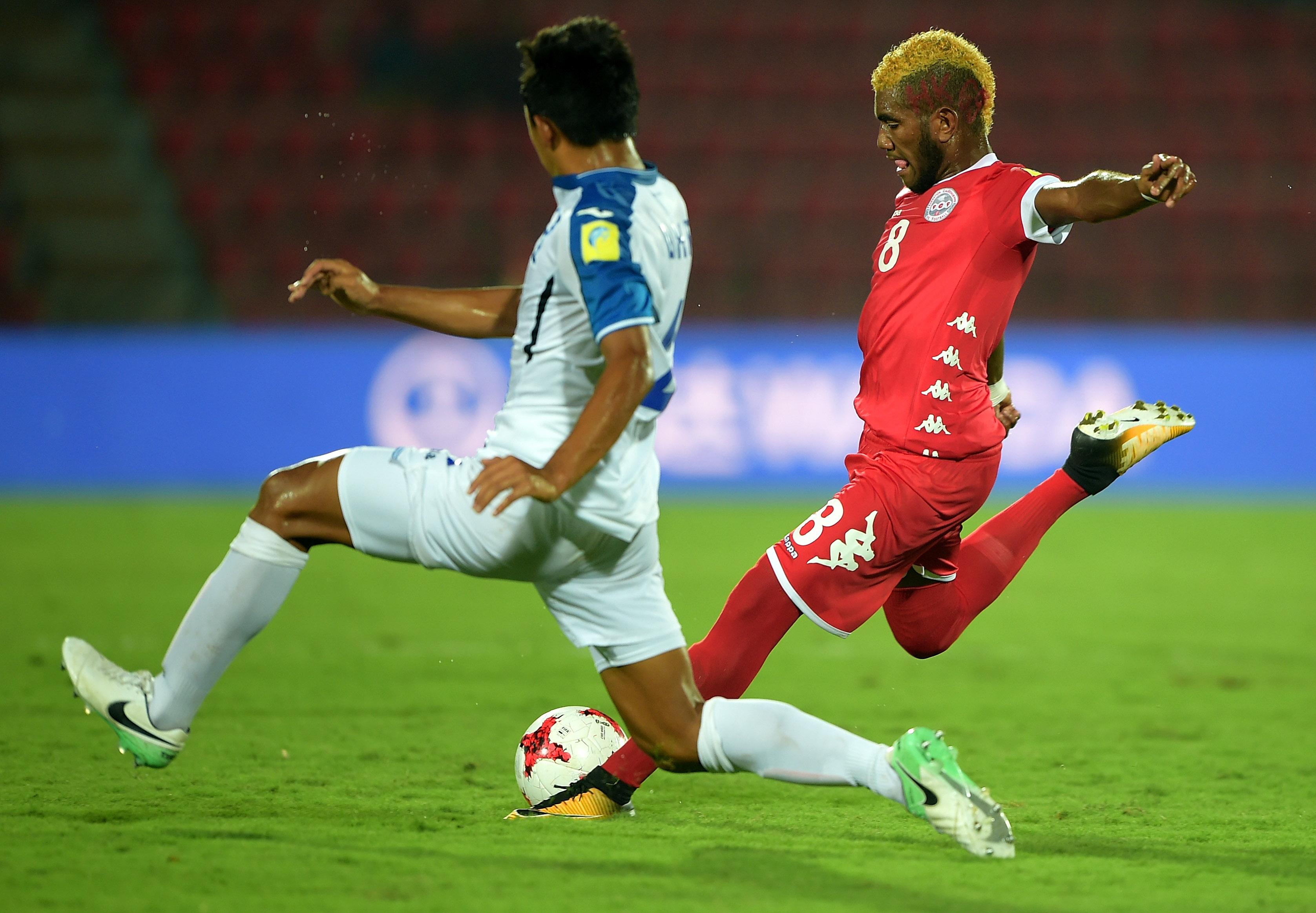 Pierre BAKO ici sous le maillot de la Calédonie, lors de la Coupe du Monde U17 de la FIFA (Inde 2017).