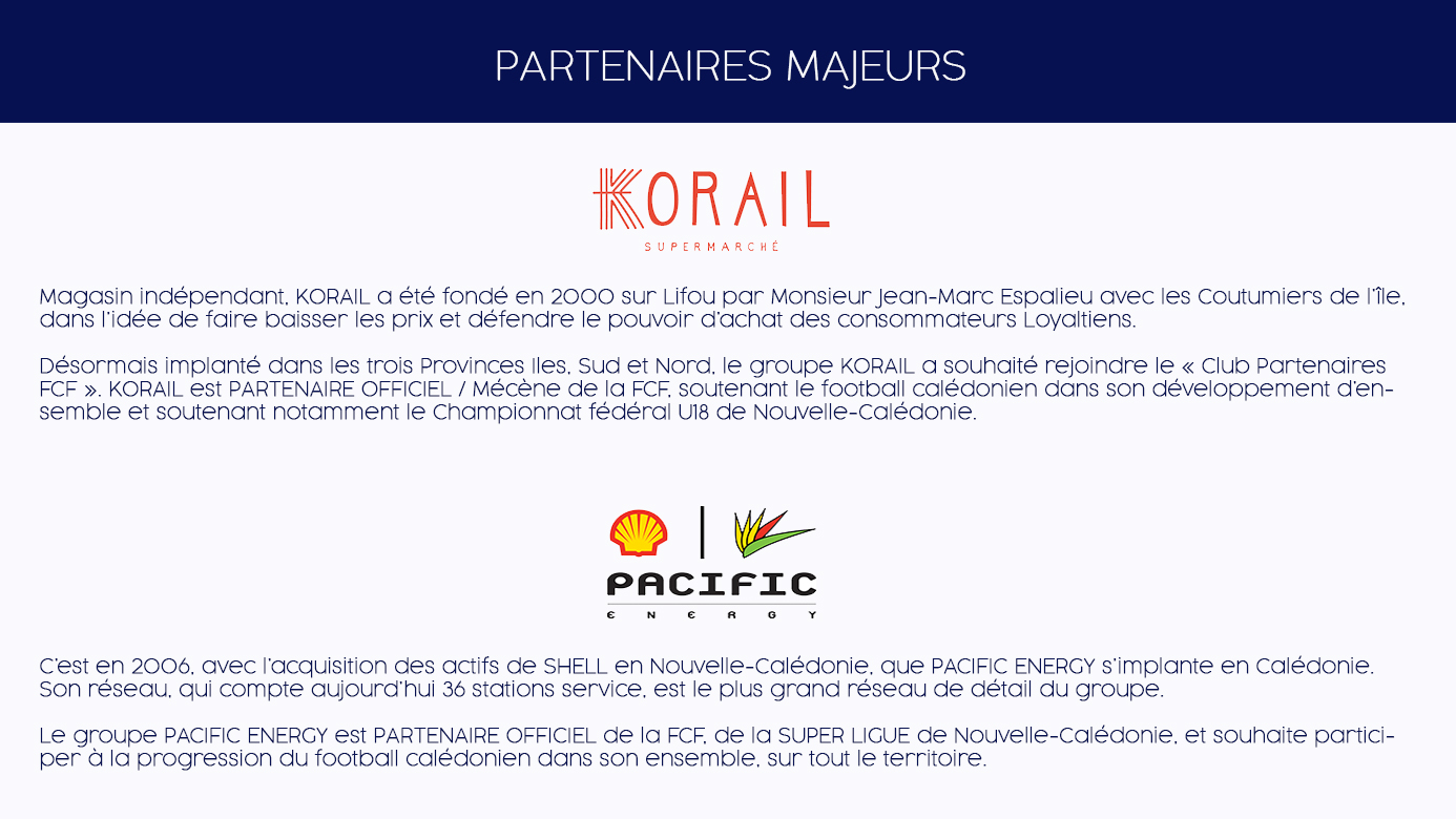 """"""" CLUB PARTENAIRES """" de la Fédération Calédonienne de Football (FCF)"""