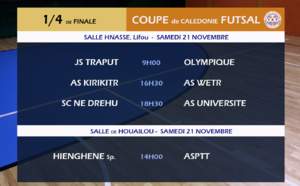 Programme des QUARTS de FINALE / Coupe de Calédonie FUTSAL